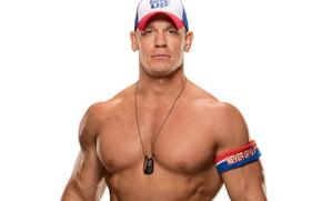 Wallpaper John Cena, John Cena, pose, muscle, muscle, bodybuilder, WWE, wrestler, actor, white background, bodybuilder, torso, ...