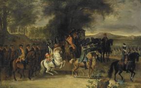 Picture oil, picture, canvas, Cornelis Trost, On Cavalry Regiment