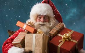 Wallpaper gifts, beard, holiday, winter, red, snowflakes, box, hat, Santa Claus, New year, Christmas, coat, Santa ...