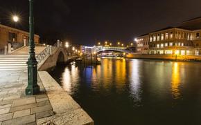 Picture night, bridge, lights, home, lights, Italy, Venice, channel, Santa Croce