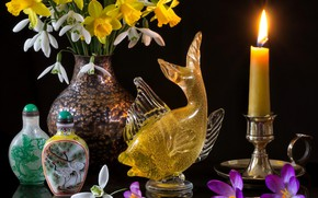 Picture flowers, style, reflection, candle, fish, bouquet, snowdrops, crocuses, black background, daffodils, bottle