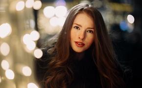 Picture look, girl, city, smile, glare, sweetheart, model, portrait, lights, makeup, lipstick, freckles, coat, light, red, …
