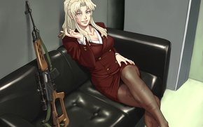 Wallpaper Black Lagoon, girl, woman, anime, sniper, asian, manga, japanese, scar, dragunov, Balalaika-Azasuke