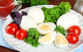 Picture eggs, tomatoes, parsley, Basil