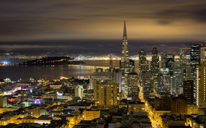 Picture night, bridge, lights, home, panorama, California, San Francisco