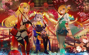 Wallpaper girls, anime, trio