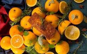 Picture oranges, cupcake, rosemary