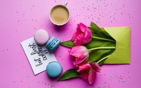 Picture flowers, coffee, tulips, pink, pink, flowers, cup, tulips, sweet, coffee, dessert, macaroon, macaron, macaroon