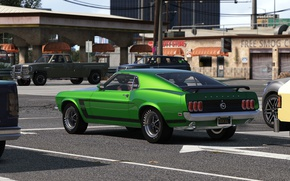 Wallpaper the city, car, Grand Theft Auto V, road, muscle car, street, style