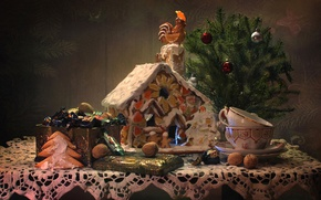 Picture tree, candy, nuts, cock, gingerbread, gingerbread house