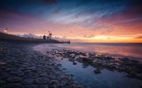 Wallpaper stones, Texel, pierce, tide, the evening, Netherlands, sea