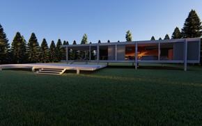 Picture ate, architecture, structure, lawn, farnsworth house