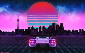 Picture Graphics, Neon, The sky, Lamborghini, The sun, Stars, Music, Lamborghini, The city, Sinti, Synth-pop, Lambordgini, ...