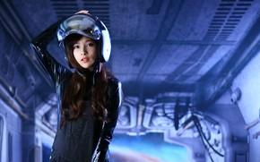 Picture look, background, model, hair, helmet, beauty
