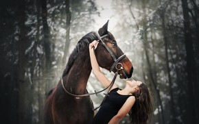 Wallpaper girl, mood, horse