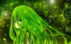 Picture green, kawaii, girl, fantasy, nature, anime, beautiful, pretty, cute, vegetation, sugoi, green hair, deredere, subarashii, …