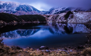 Picture landscape, mountains, nature, fog, lake, reflection, stones, hills, shore, the evening, twilight, pond, mountain lake, …