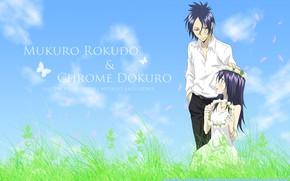 Picture anime, meadow, two, Rokudou Mukuro, Katekyo Hitman REBORN!, Chrome Dokuro