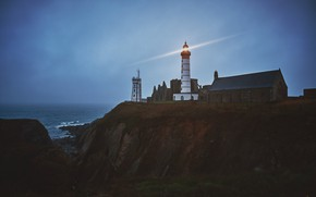 Picture Sea, Night, Rocks, Lighthouse, Light