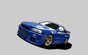 Picture Figure, nissan, Gold, skyline, gtr, mobile, GTR R34, Nissan