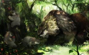 Picture eagle, forrest, Dragon's Crown, feline