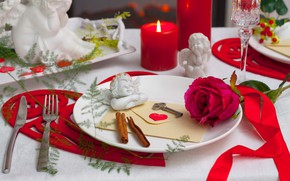 Picture Rose, Candles, angels, Bud, plates, heart, key, Table setting, Cutlery