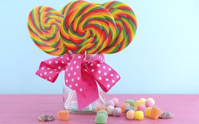 Picture Bank, sweets, lollipops, bow, marmelad