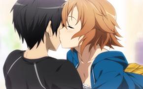 Picture kiss, anime, art, Sword art online, Sword Art Online, Kirito