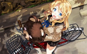 Picture kawaii, girl, bear, bike, big, pretty, asian, japanese, oppai, bishojo, seifuku, kuma, by sanoboss