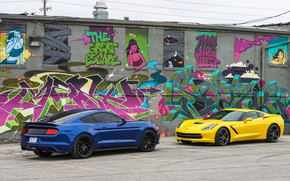 Picture design, background, Ford Mustang, Corvette Chevrolet