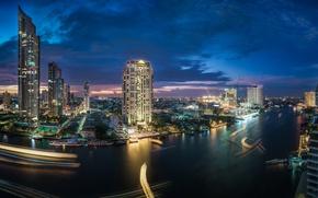 Picture river, building, Thailand, Bangkok, Thailand, night city, skyscrapers, Bangkok, Chao Phraya River, Khlongsan, the Chao …