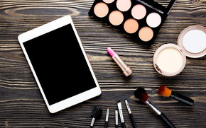 Picture makeup, lipstick, shadows, tablet, cosmetics