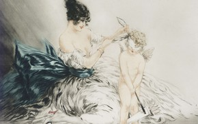 Picture angel, 1922, Louis Icart, art Deco, etching and aquatint, Blindfolded