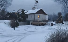 Picture snow, car, structure, bio south