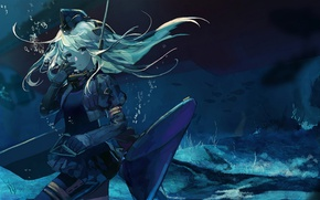 Picture sea, fish, bubbles, the bottom, depth, screw, girl, long hair, pussy, Kantai Collection