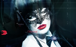 Picture girl, butterfly, haircut, mask, lips