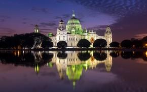 Picture night, lights, reflection, India, Kolkata, Victoria Memorial