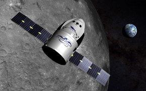 Picture earth, the moon, SpaceX Dragon