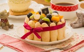 Picture tea, cake, fruit, Savoiardi