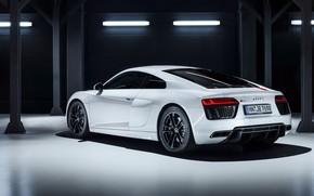 Picture garage, supercar, Audi R8, rear view, 2018, V10, RWS