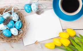 Picture coffee, Easter, tulips, yellow, wood, tulips, coffee cup, spring, Easter, eggs, decoration, Happy, tender