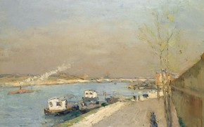 Picture landscape, river, ship, picture, Albert Charles Lebar, Albert Lebourg, The Banks Of The Seine. Spring …