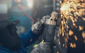 Picture sparks, Bulgarian, momentum, Angle grinder, LBM, Worker