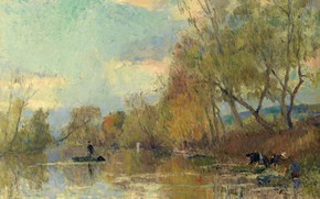Picture landscape, river, picture, Albert Charles Lebar, Albert Lebourg, Laundress