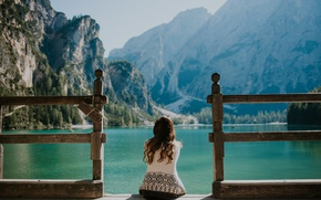 Picture the sky, water, girl, mountains, brunette, pierce, sitting