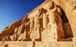 Wallpaper The sky, Rock, Temple, Egypt, Sky, Rock, statues, Egypt, Temple, Ancient, Abu Simbel, Abu Simbel, ...