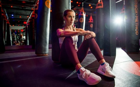 Wallpaper sneakers, punching bag, the gym, sitting, sports, Hanna, girl
