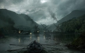 Picture boat, ships, Bay, King Arthur, Legend of the Sword