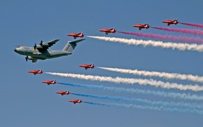 Wallpaper RAF, Red Arrows, Royal Air Force, support, four-engine, The red arrows, fighters, transport, Airbus A400M ...