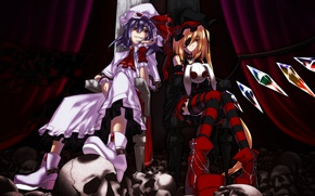 Picture skull, red eyes, the throne, eye patch, striped stockings, black wings, Touhou Project, Remilia Scarlet, …